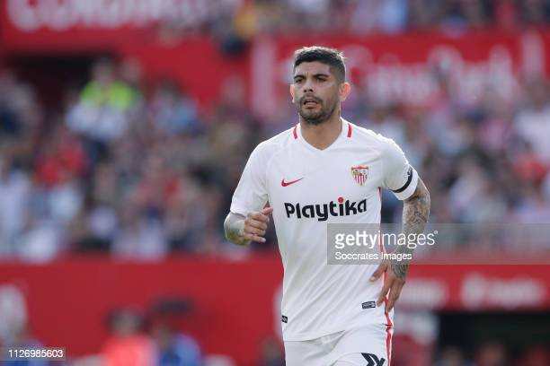 Ever Banega of Sevilla FC during the La Liga Santander match between Sevilla v FC Barcelona at the Estadio Ramon Sanchez Pizjuan on February 23 2019...