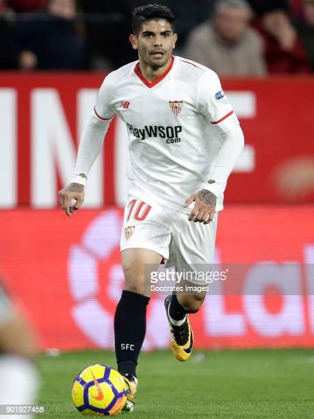 Ever Banega of Sevilla FC during the La Liga Santander match between Sevilla v Real Betis Sevilla at the Estadio Ramon Sanchez Pizjuan on January 6...