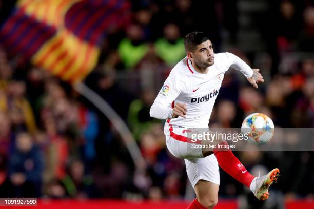 Ever Banega of Sevilla FC during the Spanish Copa del Rey match between FC Barcelona v Sevilla at the Camp Nou on January 30 2019 in Barcelona Spain