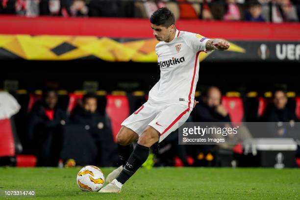 Ever Banega of Sevilla FC during the UEFA Europa League match between Sevilla v Krasnodar at the Estadio Ramon Sanchez Pizjuan on December 13 2018 in...
