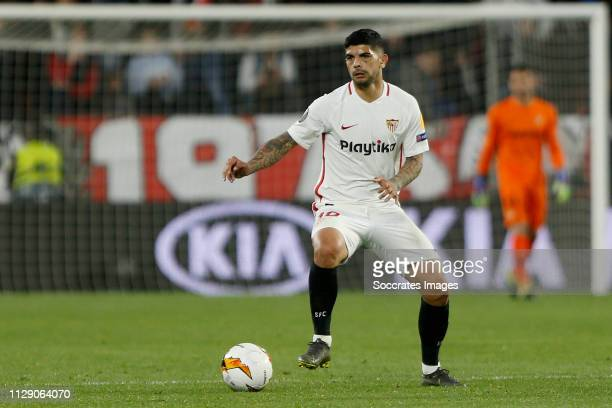 Ever Banega of Sevilla FC during the UEFA Europa League match between Sevilla v Slavia Prague at the Estadio Ramon Sanchez Pizjuan on March 7 2019 in...