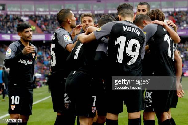 Ever Banega of Sevilla FC Gabriel Mercado of Sevilla FC Roque Mesa of Sevilla FC Munir of Sevilla FC Pablo Sarabia of Sevilla FC celebrate goal...