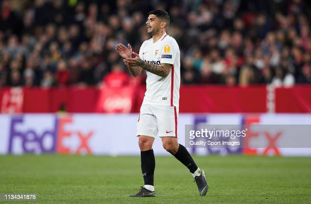 Ever Banega of Sevilla FC gestures during the UEFA Europa League Round of 16 First Leg match between Sevilla and Slavia Prague at Estadio Ramon...