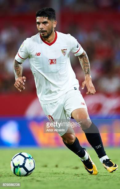 Ever Banega of Sevilla FC in action during a Pre Season Friendly match between Sevilla FC and AS Roma at Estadio Ramon Sanchez Pizjuan on August 10...