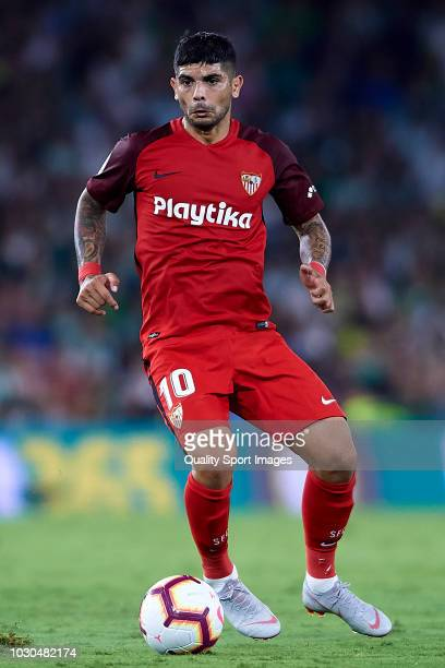 Ever Banega of Sevilla FC in action during the La Liga match between Real Betis Balompie and Sevilla FC at Estadio Benito Villamarin on September 2...