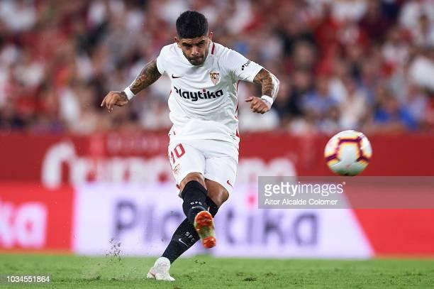 Ever Banega of Sevilla FC in action during the La Liga match between Sevilla FC and Getafe CF at Estadio Ramon Sanchez Pizjuan on September 16 2018...
