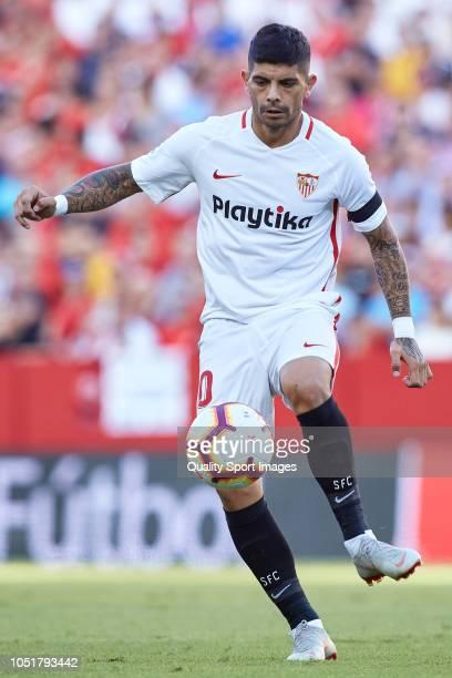 Ever Banega of Sevilla FC in action during the La Liga match between Sevilla FC and RC Celta de Vigo at Estadio Ramon Sanchez Pizjuan on October 7...