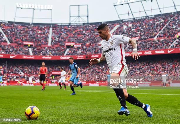 Ever Banega of Sevilla FC in action during the La Liga match between Sevilla FC and Girona FC at Estadio Ramon Sanchez Pizjuan on December 16 2018 in...