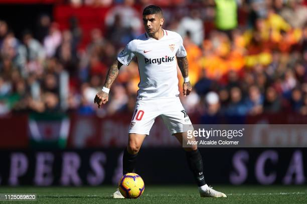 Ever Banega of Sevilla FC in action during the La Liga match between Sevilla FC and Levante UD at Estadio Ramon Sanchez Pizjuan on January 26 2019 in...