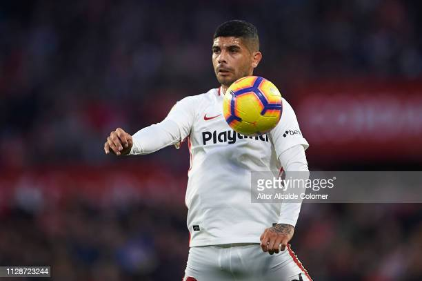 Ever Banega of Sevilla FC in action during the La Liga match between Sevilla FC and SD Eibar at Estadio Ramon Sanchez Pizjuan on February 10 2019 in...