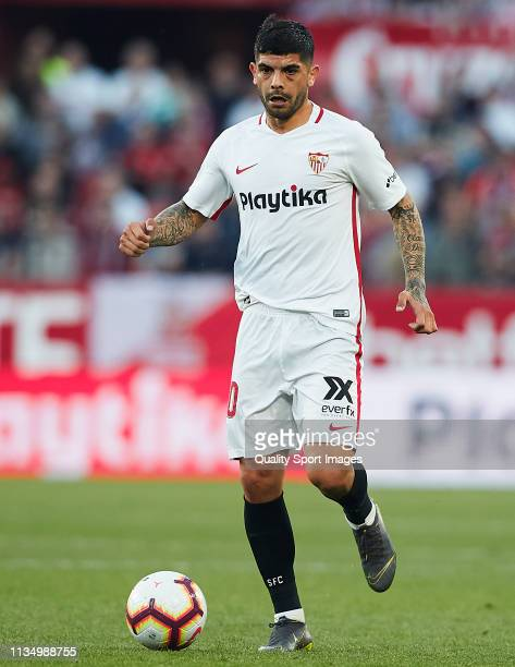 Ever Banega of Sevilla FC in action during the La Liga match between Sevilla FC and Real Sociedad at Estadio Ramon Sanchez Pizjuan on March 10 2019...