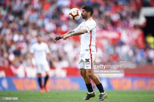 Ever Banega of Sevilla FC in action during the La Liga match between Sevilla FC and Valencia CF at Estadio Ramon Sanchez Pizjuan on March 31 2019 in...