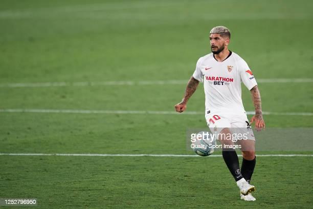 Ever Banega of Sevilla FC in action during the La Liga match between Sevilla FC and Real Valladolid CF at Estadio Ramon Sanchez Pizjuan on June 26...