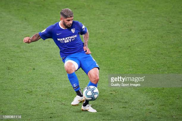 Ever Banega of Sevilla FC in action during the La Liga match between Athletic Club and Sevilla FC at San Mames Stadium on July 09 2020 in Bilbao...