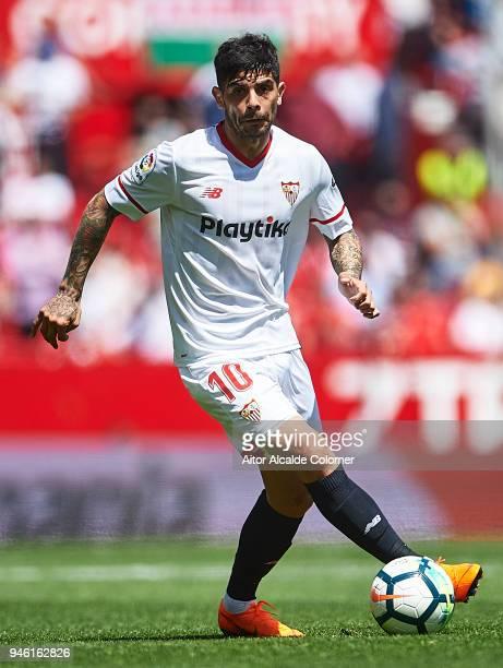 Ever Banega of Sevilla FC in action during the La Liga match between Sevilla and Villarreal at on April 14 2018 in Seville