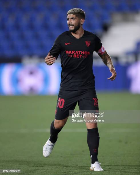 Ever Banega of Sevilla FC in action during the Liga match between CD Leganes and Sevilla FC at Estadio Municipal de Butarque on June 30 2020 in...