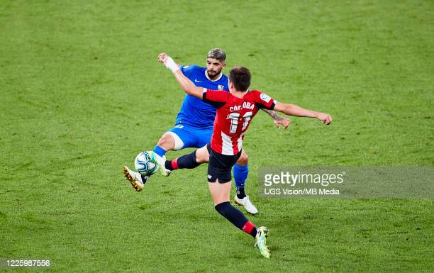Ever Banega of Sevilla FC in action during the Liga match between Athletic Club and Sevilla FC at San Mames Stadium on July 9 2020 in Bilbao Spain