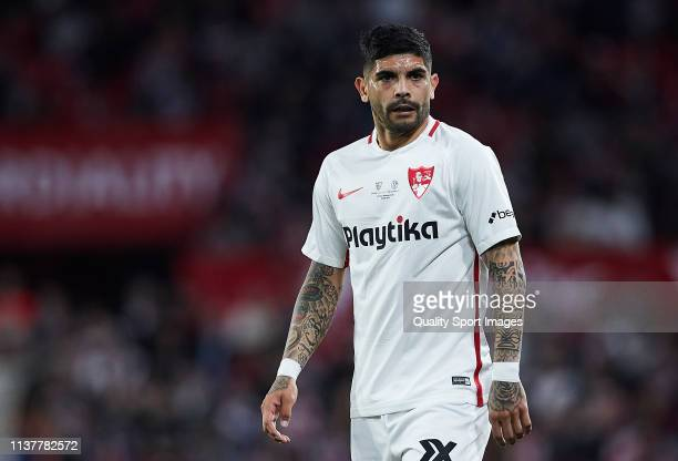 Ever Banega of Sevilla FC in action during the match between Sevilla FC and Shalke 04 as part of the friendly match Trofeo Antonio Puerta at Estadio...