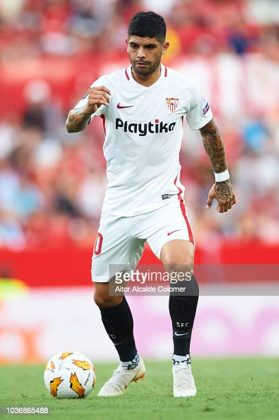 Ever Banega of Sevilla FC in action during the UEFA Europa League Group J match between Sevilla and Royal Standard de Liege at Estadio Ramon Sanchez...