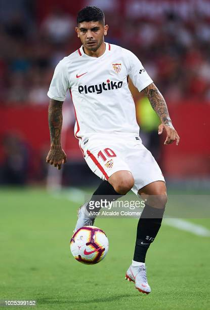 Ever Banega of Sevilla FC in action during the UEFA Europa League Play Off Second Leg match between Sevilla and Sigma Olomuc at Ramon Sanchez Pizjuan...
