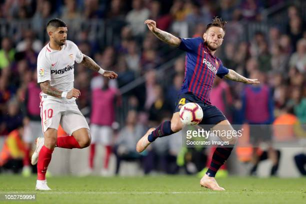 Ever Banega of Sevilla FC Ivan Rakitic of FC Barcelona during the La Liga Santander match between FC Barcelona v Sevilla at the Camp Nou on October...