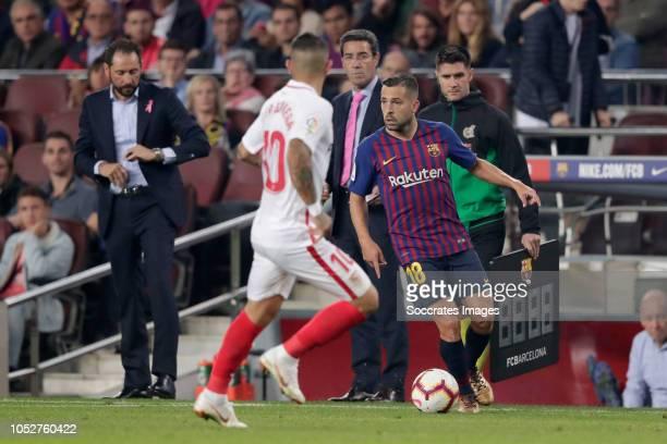 Ever Banega of Sevilla FC Jordi Alba of FC Barcelona during the La Liga Santander match between FC Barcelona v Sevilla at the Camp Nou on October 20...