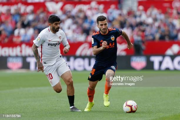 Ever Banega of Sevilla FC Jose Gaya of Valencia CF during the La Liga Santander match between Sevilla v Valencia at the Estadio Ramon Sanchez Pizjuan...