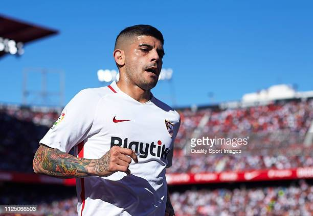 Ever Banega of Sevilla FC looks on during the La Liga match between Sevilla FC and Levante UD at Estadio Ramon Sanchez Pizjuan on January 26 2019 in...