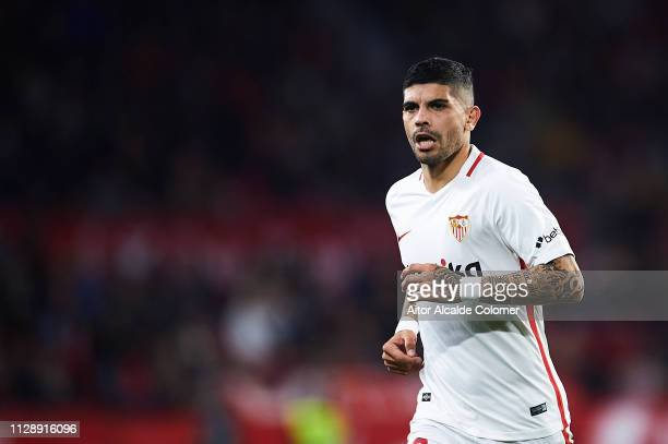 Ever Banega of Sevilla FC looks on during the La Liga match between Sevilla FC and SD Eibar at Estadio Ramon Sanchez Pizjuan on February 10 2019 in...
