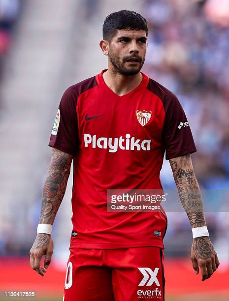 Ever Banega of Sevilla FC looks on during the La Liga match between RCD Espanyol and Sevilla FC at RCDE Stadium on March 17 2019 in Barcelona Spain