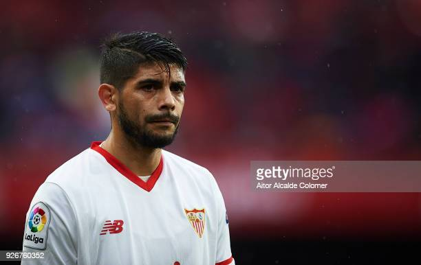 Ever Banega of Sevilla FC looks on during the La Liga match between Sevilla and Athletic Club at Estadio Ramon Sanchez Pizjuan on March 3 2018 in...