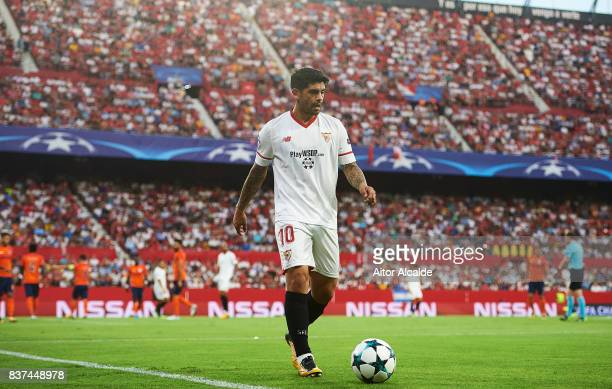 Ever Banega of Sevilla FC looks on during the UEFA Champions League Qualifying PlayOffs round second leg match between Sevilla FC and Istanbul...