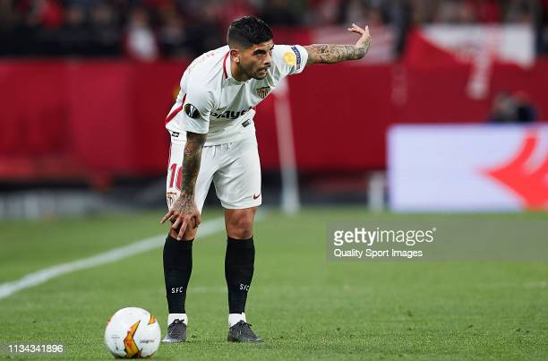 Ever Banega of Sevilla FC looks on during the UEFA Europa League Round of 16 First Leg match between Sevilla and Slavia Prague at Estadio Ramon...