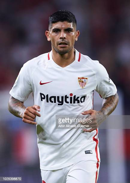 Ever Banega of Sevilla FC looks on during the UEFA Europa League Play Off Second Leg match between Sevilla and Sigma Olomuc at Ramon Sanchez Pizjuan...
