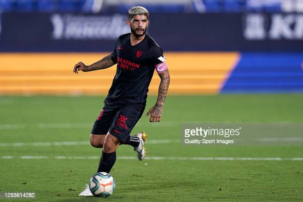 Ever Banega of Sevilla FC looks on with the captain's armband during the Liga match between CD Leganes and Sevilla FC at Estadio Municipal de...