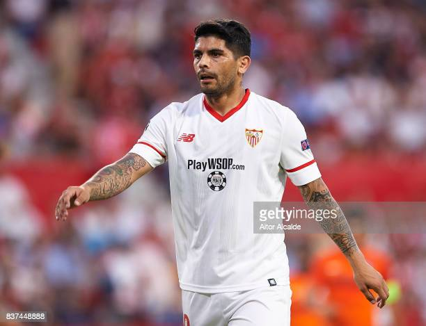 Ever Banega of Sevilla FC looks onduring the UEFA Champions League Qualifying PlayOffs round second leg match between Sevilla FC and Istanbul...