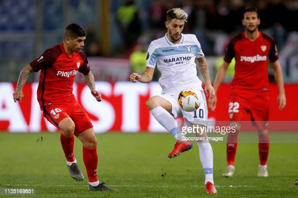 Ever Banega of Sevilla FC Luis Alberto of Lazio Roma during the UEFA Europa League match between Lazio v Sevilla at the Stadio Olimpico Rome on...