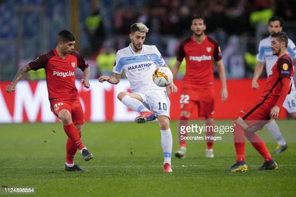 Ever Banega of Sevilla FC Luis Alberto of Lazio Roma Sergio Escudero of Sevilla FC during the UEFA Europa League match between Lazio v Sevilla at the...