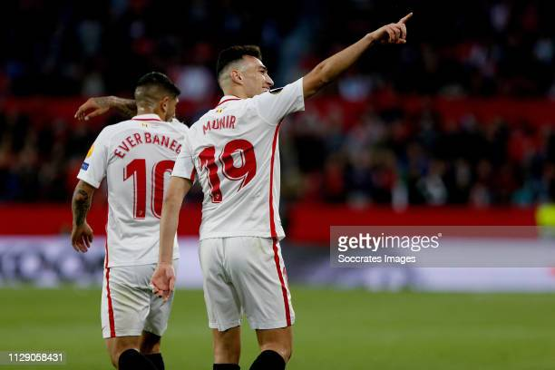 Ever Banega of Sevilla FC Munir of Sevilla FC celebrate goal during the UEFA Europa League match between Sevilla v Slavia Prague at the Estadio Ramon...