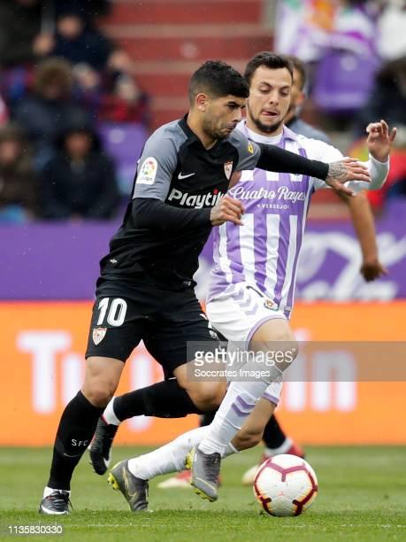 Ever Banega of Sevilla FC Oscar Plano of Real Valladolid during the La Liga Santander match between Real Valladolid v Sevilla at the Estadio Nuevo...