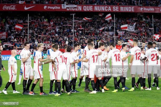 Ever Banega of Sevilla FC Pablo Sarabia of Sevilla FC Sergio Escudero of Sevilla FC Andre Silva of Sevilla FC Quincy Promes of Sevilla FC during the...