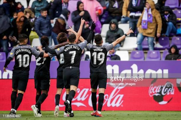 Ever Banega of Sevilla FC Quincy Promes of Sevilla FC Bryan of Sevilla FC Roque Mesa of Sevilla FC Munir of Sevilla FC celebrates goal 20 during the...