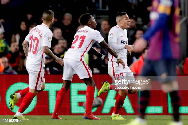 Ever Banega of Sevilla FC Quincy Promes of Sevilla FC Guilherme Arana of Sevilla FC during the Spanish Copa del Rey match between FC Barcelona v...
