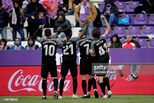 Ever Banega of Sevilla FC Quincy Promes of Sevilla FC Roque Mesa of Sevilla FC Bryan of Sevilla FC celebrate goal during the La Liga Santander match...