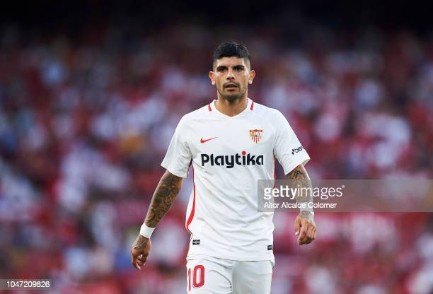 Ever Banega of Sevilla FC reacts during the La Liga match between Sevilla FC and RC Celta de Vigo at Estadio Ramon Sanchez Pizjuan on October 7 2018...