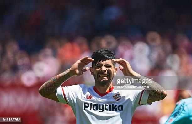 Ever Banega of Sevilla FC reacts during the La Liga match between Sevilla and Villarreal at on April 14 2018 in Seville