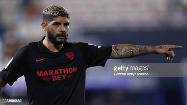Ever Banega of Sevilla FC reacts during the Liga match between CD Leganes and Sevilla FC at Estadio Municipal de Butarque on June 30 2020 in Leganes...