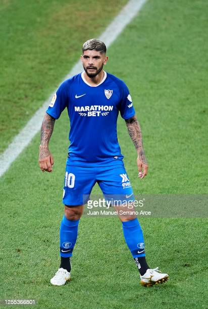 Ever Banega of Sevilla FC reacts during the Liga match between Athletic Club and Sevilla FC at San Mames Stadium on July 09 2020 in Bilbao Spain...