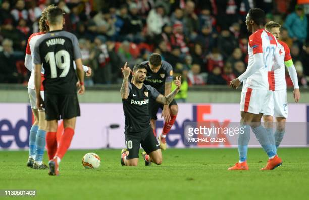 Ever Banega of Sevilla FC reacts during the UEFA Europa League last 16 second leg football match Slavia Prague v Sevilla on March 14 2019 in Prague