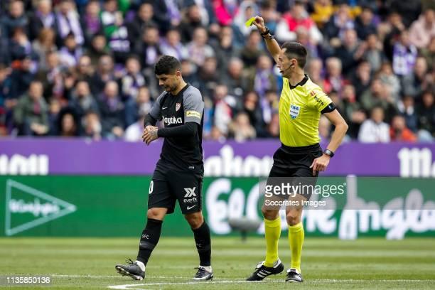 Ever Banega of Sevilla FC referee Sanchez Martinez during the La Liga Santander match between Real Valladolid v Sevilla at the Estadio Nuevo José...